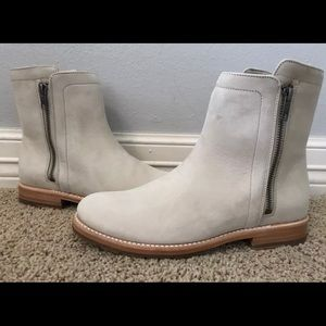 FRYE Natalie Double Zip Ivory Leather Flat Boots